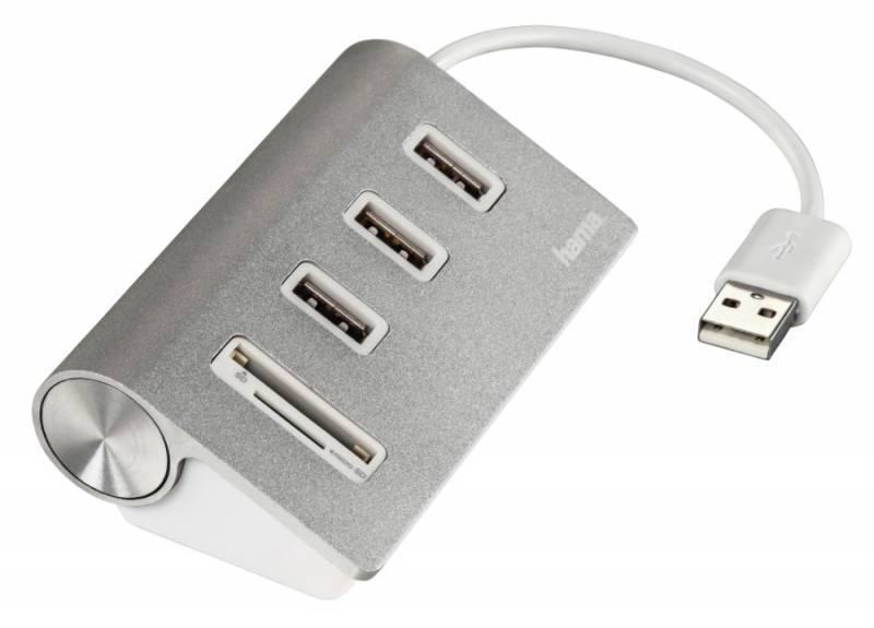 Разветвитель USB 2.0 Hama Kombi серебристый (00054142) - фото 1
