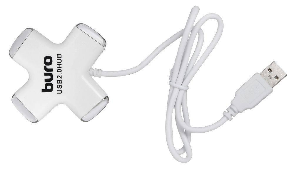 Разветвитель USB 2.0 Buro BU-HUB4-0.5-U2.0-Сross белый - фото 1
