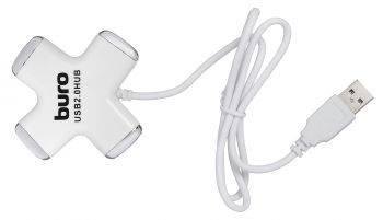 Разветвитель USB 2.0 Buro BU-HUB4-0.5-U2.0-Сross белый