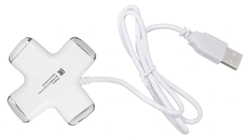 Разветвитель USB 2.0 Buro BU-HUB4-0.5-U2.0-Сross белый - фото 2