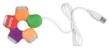 Разветвитель USB 2.0 Buro BU-HUB4-0.5-U2.0-Flower разноцветный