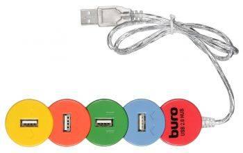 Разветвитель USB 2.0 Buro BU-HUB4-0.5-U2.0-Snake разноцветный
