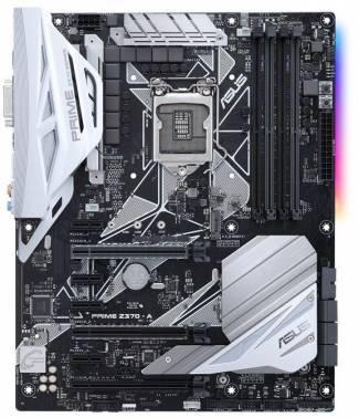 Материнская плата Asus PRIME Z370-A, гнездо процессора LGA 1151, чипсет Intel Z370, память 4xDDR4, форм-фактор ATX, звук AC`97 8ch(7.1), RAID, разъемы GbLAN