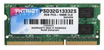 Модуль памяти Patriot PSD32G13332S, объем 1 х 2Gb, форм-фактор SO-DIMM 204-pin, тип памяти DDR3, рабочая частота 1333MHz, тайминги 9-9-9, unbuffered