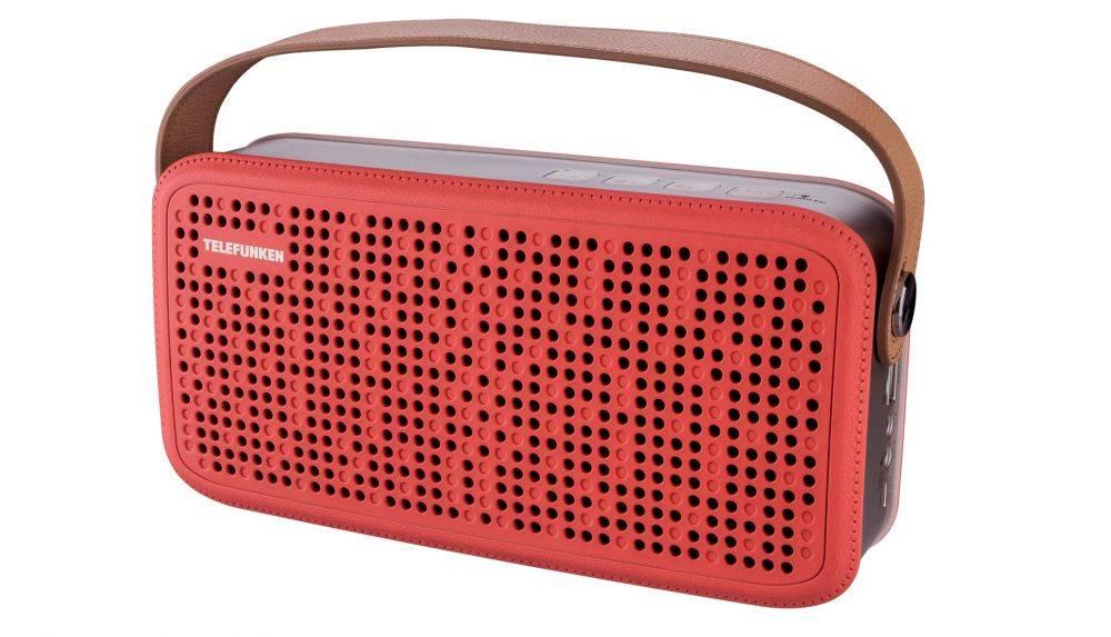 Колонка портативная Telefunken TF-PS1230B красный/коричневый (TF-PS1230B(КРАСНЫЙ)) - фото 1
