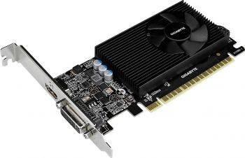 Видеокарта Gigabyte GV-N730D5-2GL, процессор nVidia GeForce GT 730 902 МГц, объем видеопамяти 2048 Мб 64 бит GDDR5 5000 МГц, интерфейс PCI-E, разъёмы DVIx1/HDMIx1, поддержка HDCP, Ret