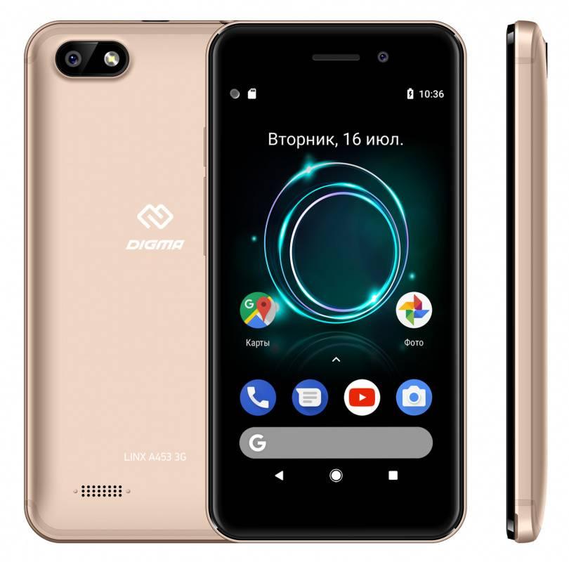 Смартфон Digma A453 3G Linx 8ГБ золотистый (LT4038PG) - фото 4