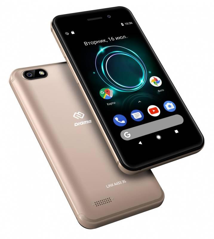 Смартфон Digma A453 3G Linx 8ГБ золотистый (LT4038PG) - фото 6