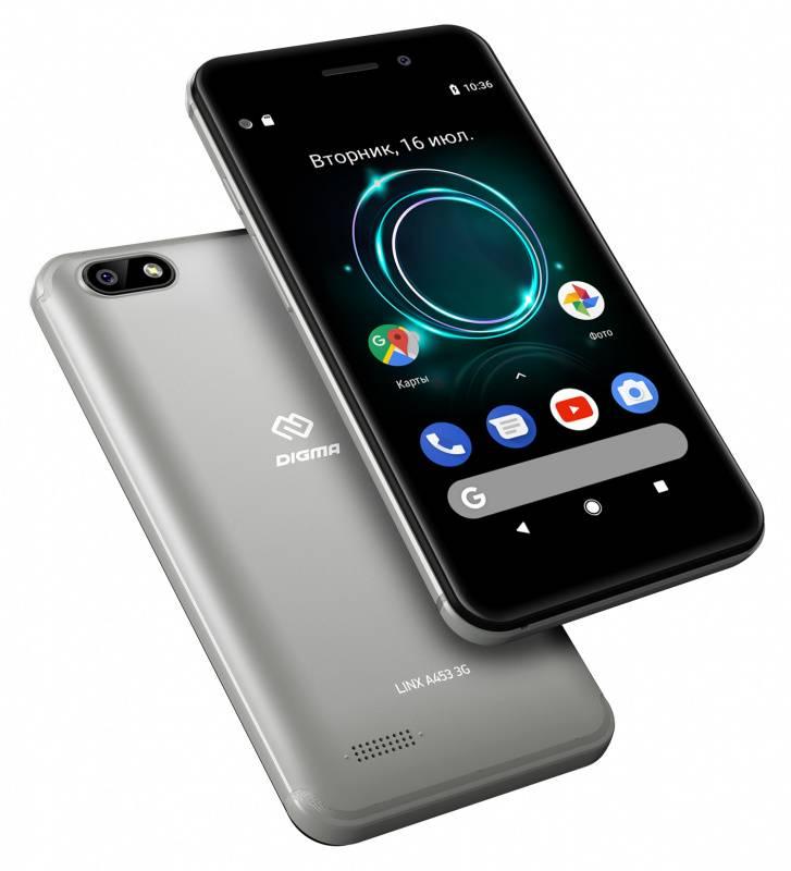 Смартфон Digma A453 3G Linx 8ГБ серый (LT4038PG) - фото 6