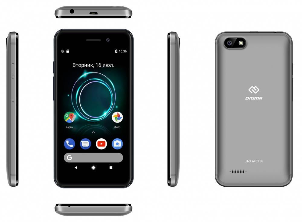 Смартфон Digma A453 3G Linx 8ГБ серый (LT4038PG) - фото 8