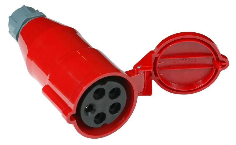 Вилка Lanmaster (LAN-IEC-309-32A3P/F) трехфазная мама 32A 380V разборная красная - фото 1