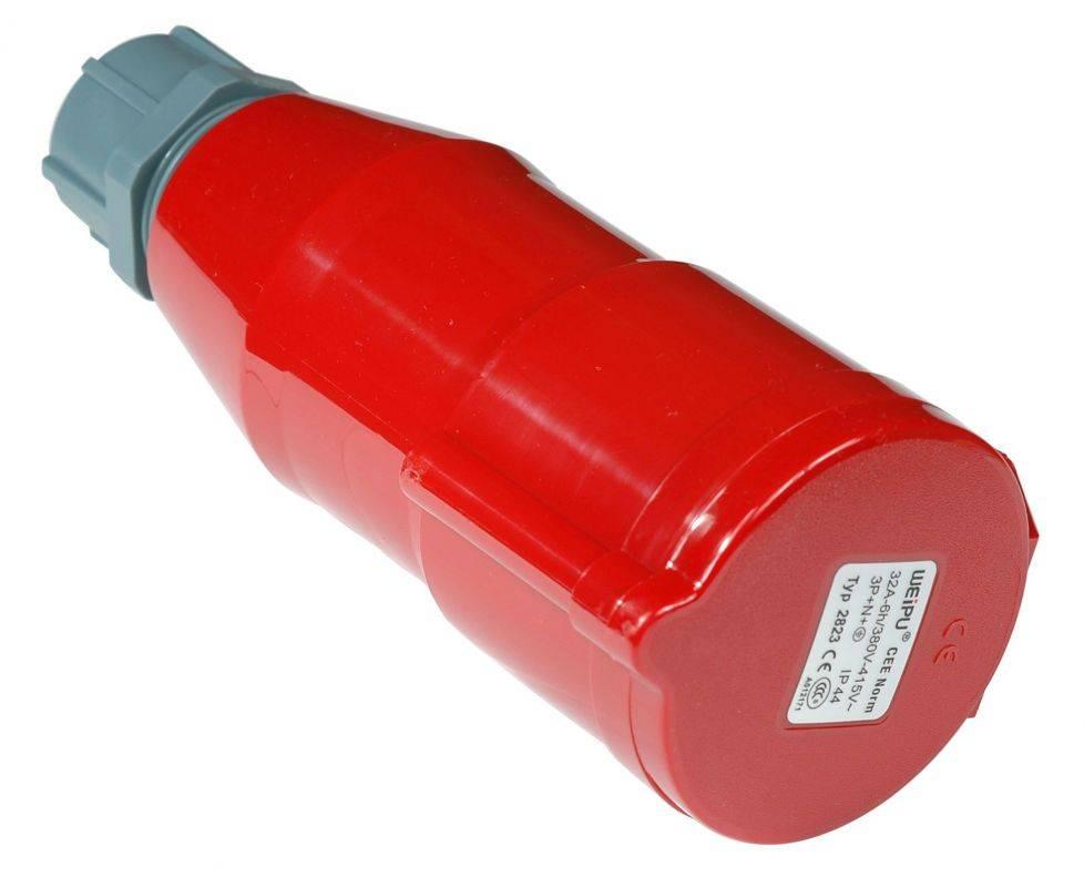 Вилка Lanmaster (LAN-IEC-309-32A3P/F) трехфазная мама 32A 380V разборная красная - фото 2