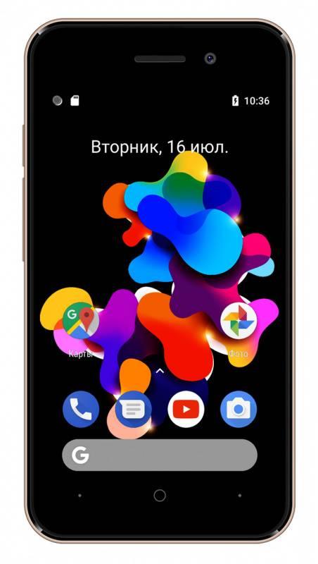 Смартфон Digma HIT Q401 3G 8ГБ золотистый (HT4039PG) - фото 3