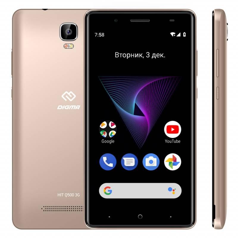 Смартфон Digma HIT Q500 3G 8ГБ золотистый (HT5035PG) - фото 4