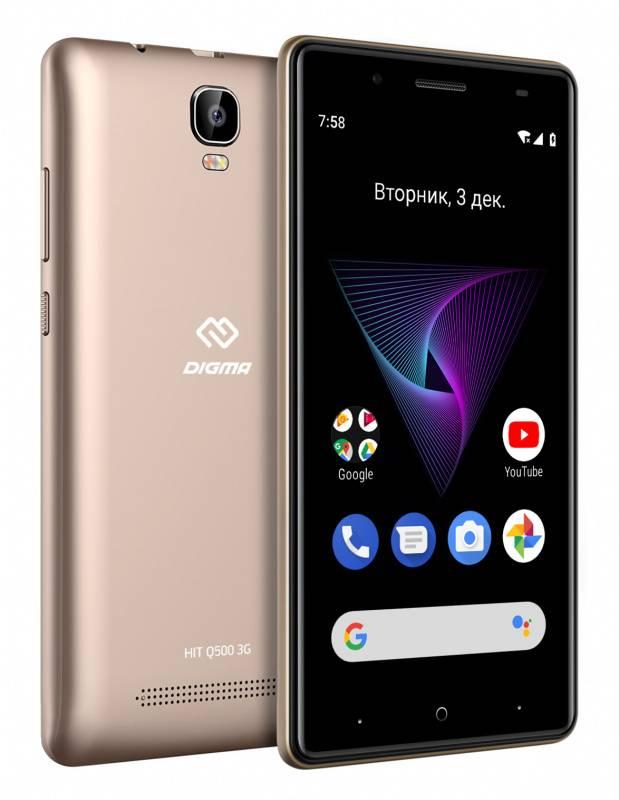 Смартфон Digma HIT Q500 3G 8ГБ золотистый (HT5035PG) - фото 5
