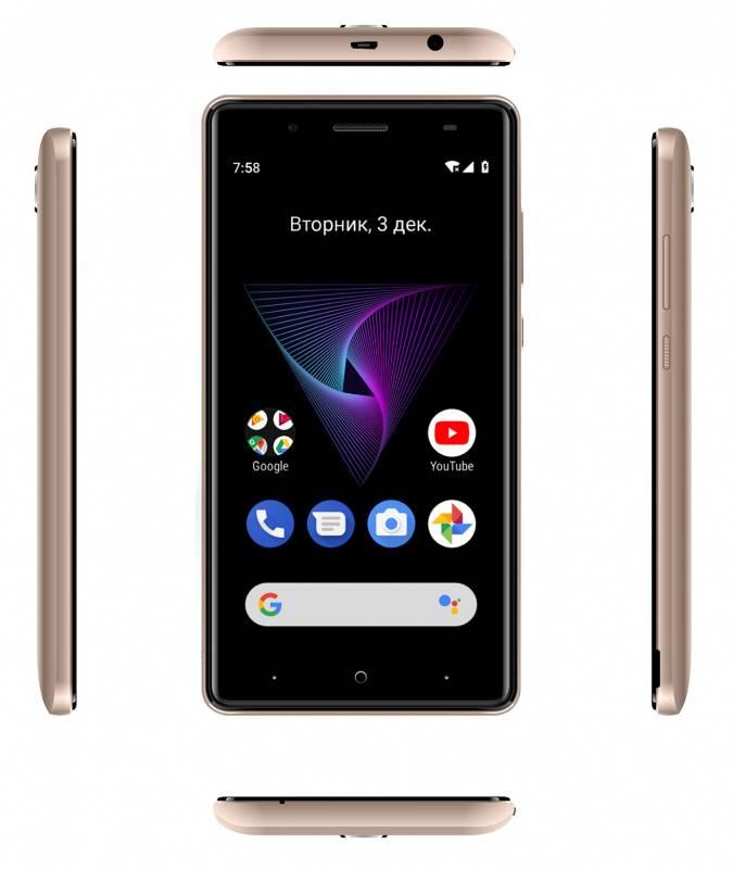 Смартфон Digma HIT Q500 3G 8ГБ золотистый (HT5035PG) - фото 6