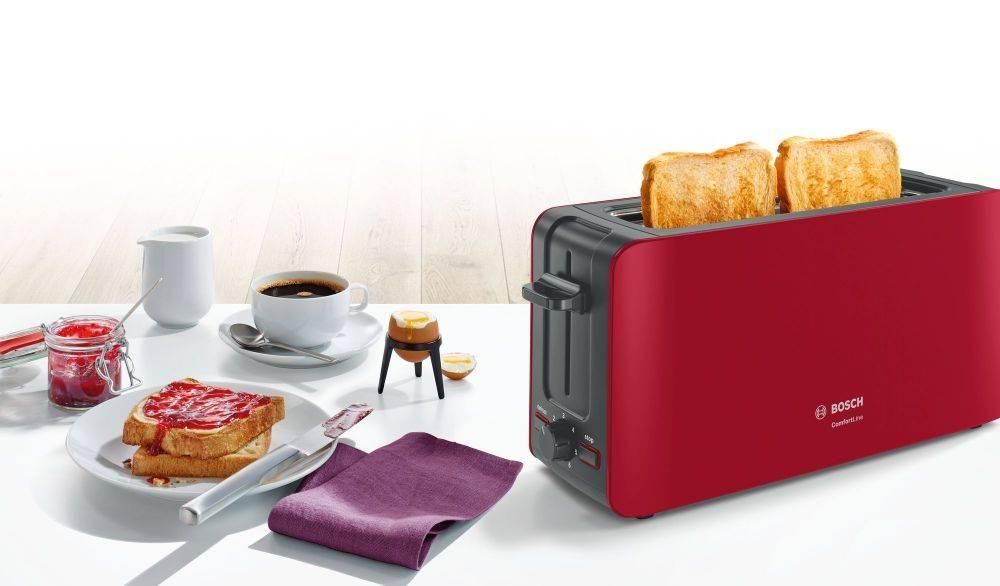 Тостер Bosch TAT6A004 красный - фото 4