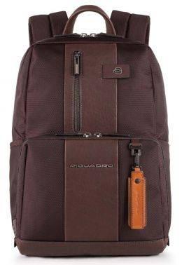 Рюкзак Piquadro Brief темно-коричневый, кожа натуральная и ткань (CA3214BR/TM)