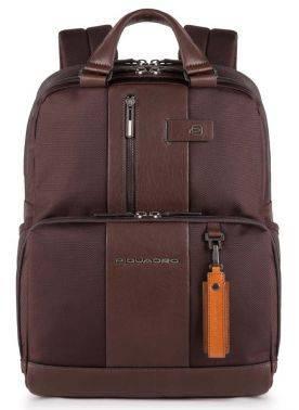 Рюкзак Piquadro Brief темно-коричневый, кожа натуральная и ткань (CA3975BR/TM)