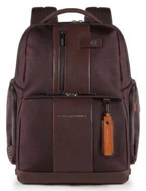 Рюкзак Piquadro Brief темно-коричневый, кожа натуральная и ткань (CA4439BRBM/TM)