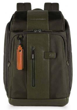 Рюкзак Piquadro Brief зеленый, кожа натуральная и ткань (CA4443BR/VE)
