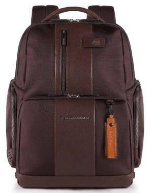 Рюкзак Piquadro Brief темно-коричневый, кожа натуральная и ткань (CA4532BR/TM)