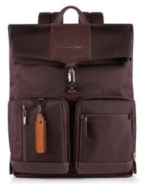 Рюкзак Piquadro Brief темно-коричневый, кожа натуральная и ткань (CA4533BR/TM)