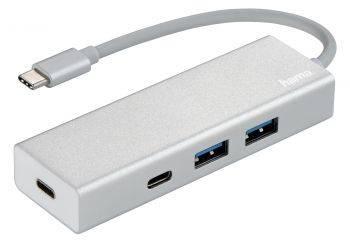 Разветвитель USB-C Hama Aluminium белый (00135755)