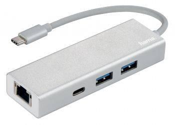 Разветвитель USB-C Hama Aluminium белый (00135757)