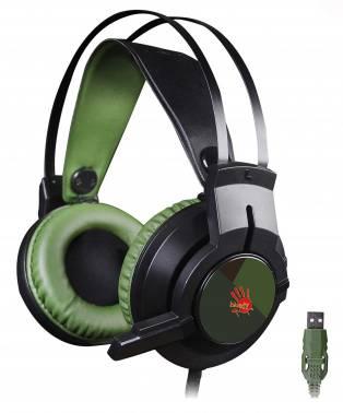 Наушники с микрофоном A4 Bloody J450 черный/зеленый