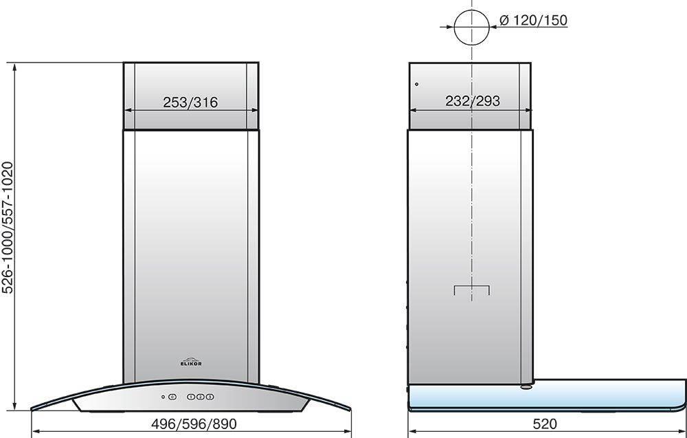 Каминная вытяжка Elikor Аметист 60П-430-К3Д черный/тонир. галоген (КВ II М-430-60-305) - фото 2