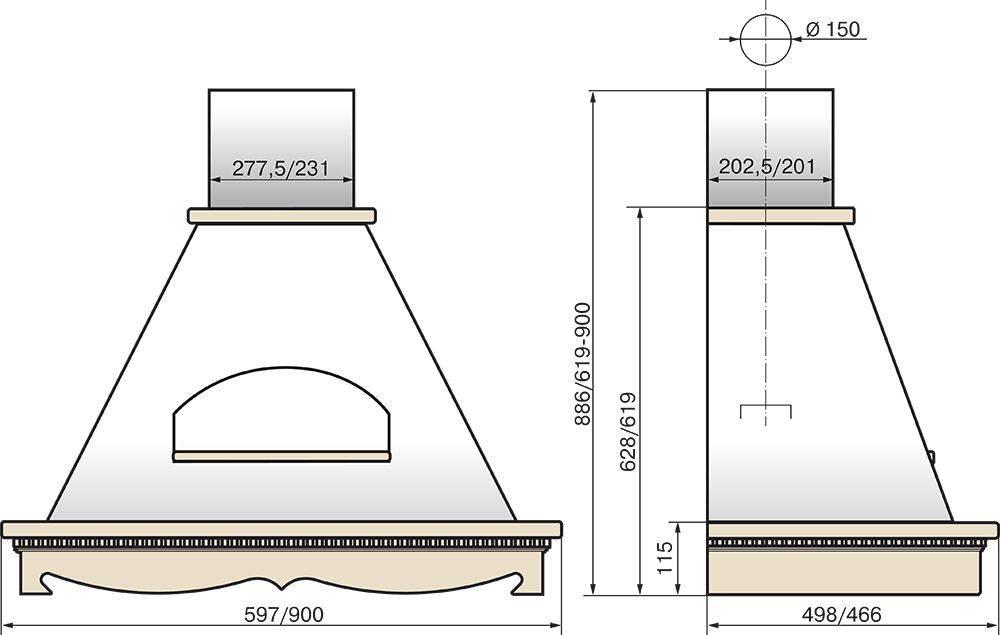 Каминная вытяжка Elikor Бельведер 60П-650-П3Д бежевый/дуб неокрашенный (КВ II М-650-60-318) - фото 2