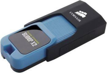Флеш диск Corsair Voyager Slider X2 256ГБ USB3.0 черный/голубой (CMFSL3X2-256GB)