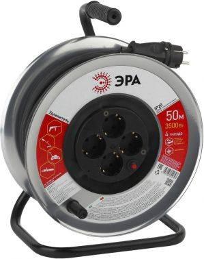 Удлинитель силовой Эра RM-4-3x1.5-50m-IP44 (Б0035322) 3x1.5кв.мм 4розет. 50м КГ 16A метал.катушка черный