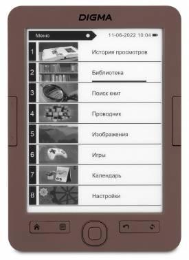 """Электронная книга 6"""" Digma E60C коричневый"""