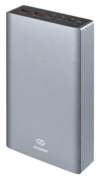 Мобильный аккумулятор DIGMA Power Delivery DG-PD-30000-SLV QC 3.0 PD(18W) серебристый (DG-PD-30000-SLV) - фото 1