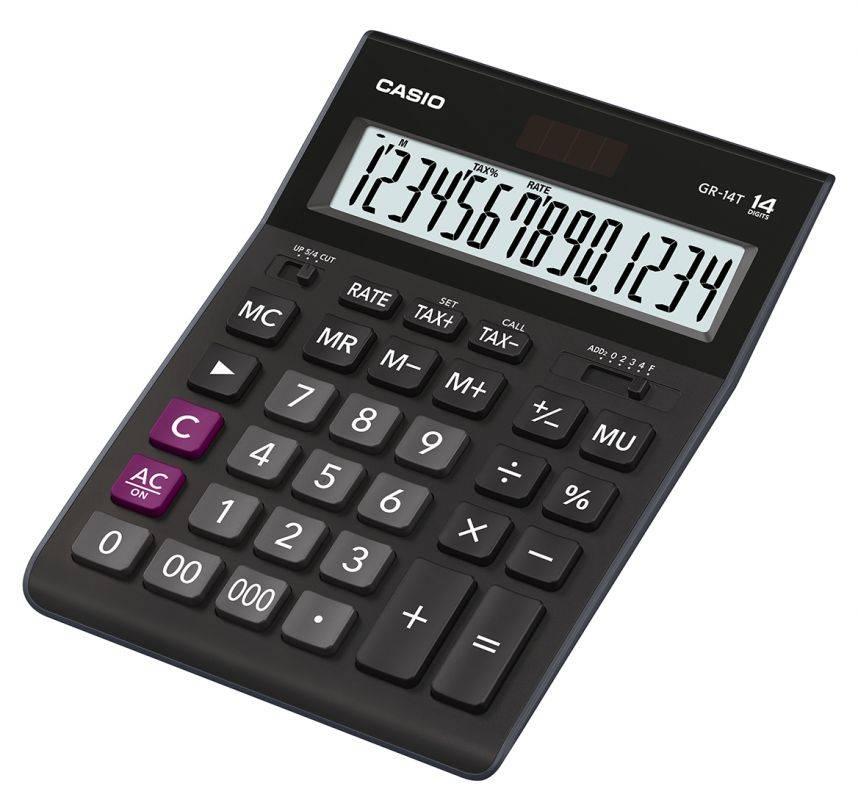 Калькулятор настольный Casio GR-14T черный (GR-14T-W-EP) - фото 1