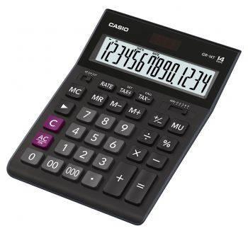 Калькулятор настольный Casio GR-14T черный (GR-14T-W-EP)