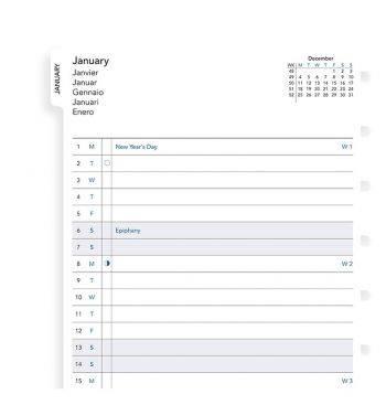 Запасной блок для тетради Filofax Month Planner 2019 A5 белый