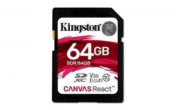 Карта памяти SDXC 64Gb Class10 Kingston Canvas React (SDR/64GB)