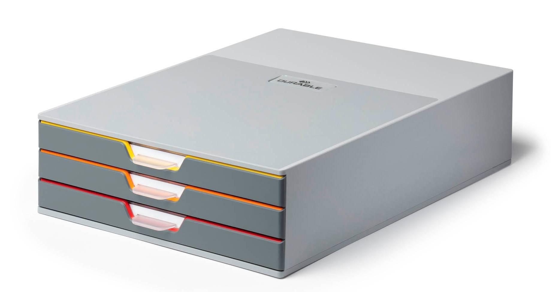 Бокс для документов Durable 7603-27 Varicolor ассорти/серый - фото 1