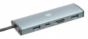 Разветвитель USB-C Digma HUB-2U3.0СCR-UC-G серый