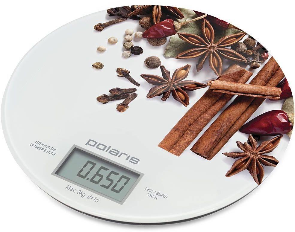 Кухонные весы Polaris PKS 0834DG белый/специи - фото 1