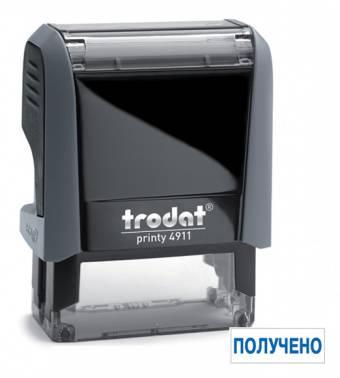 Самонаборный штамп Trodat 4911/DB ПОЛУЧЕНО 4911/DB/L1.1 PRINTY 4.0 пластик серый