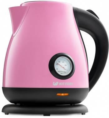 Чайник электрический Kitfort КТ-642-1 розовый/черный