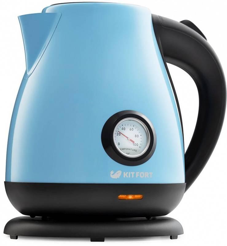 Чайник электрический Kitfort КТ-642-2 голубой/черный - фото 1