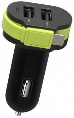 Автомобильное зар./устр. Wiiix CH-U2-9-UTC черный/зеленый