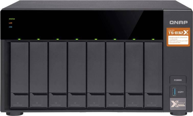 Сетевое хранилище NAS Qnap TS-832X-2G черный - фото 1