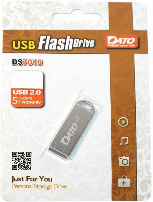 Флешка Dato DS7016 8ГБ USB2.0 серебристый (DS7016-08G) - фото 1