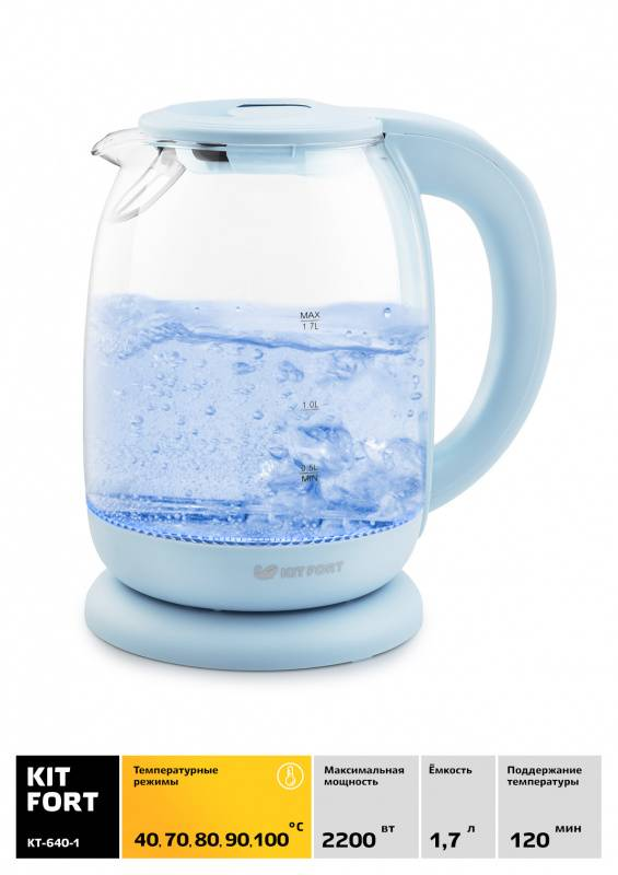 Чайник электрический Kitfort КТ-640-1 голубой - фото 2